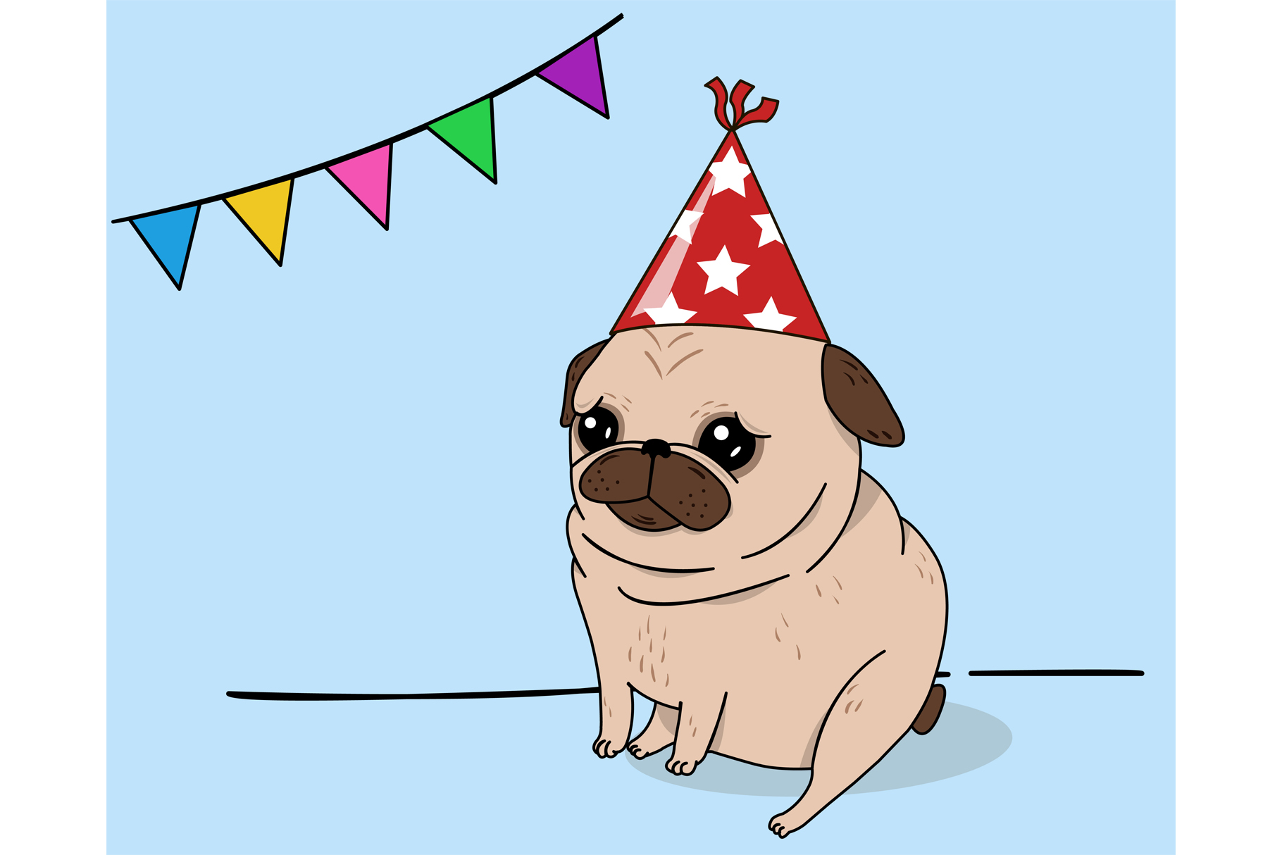Download Free Birthday Pug Graphic By Sasha Brazhnik Creative Fabrica for Cricut Explore, Silhouette and other cutting machines.