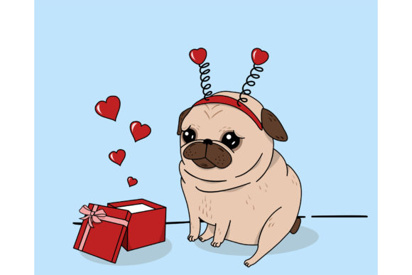 Pug Love. Graphic Illustrations By Sasha_Brazhnik