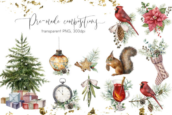 Download Free Vintage Christmas Graphic Collection Grafik Von Y Derbisheva for Cricut Explore, Silhouette and other cutting machines.