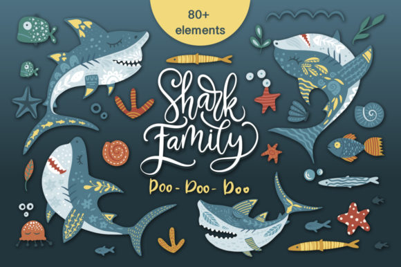 Print on Demand: Shark Family. Do Do Do Graphic Set. Graphic Illustrations By billcreativestore