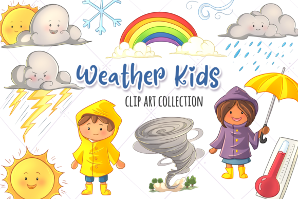 Print on Demand: Cute Weather Kids Clip Art Collection Graphic Illustrations By Keepinitkawaiidesign