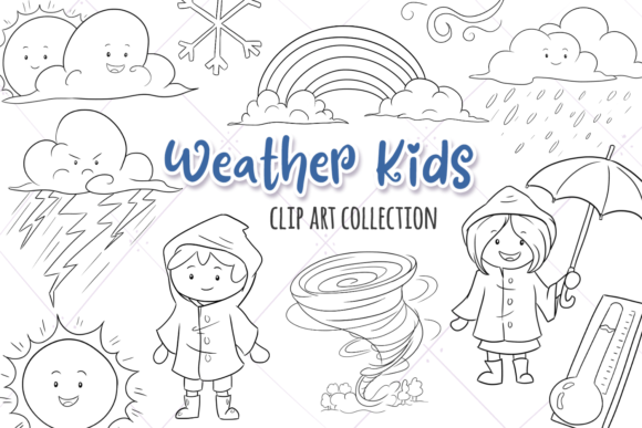 Print on Demand: Cute Weather Kids Digital Stamps Graphic Illustrations By Keepinitkawaiidesign - Image 1