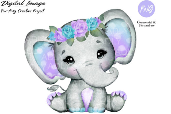 Print on Demand: Purple Teal Elephant Clip Art Graphic Illustrations By adlydigital