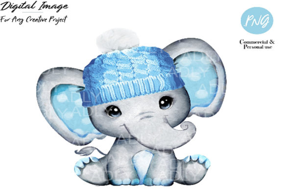 Print on Demand: Elephant Clip Art Blue Winter Hat Graphic Illustrations By adlydigital