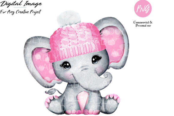 Print on Demand: Watercolor Elephant Girl Clip Art, Pink Graphic Illustrations By adlydigital - Image 1