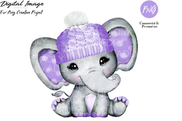 Purple Elephant Girl Clip Art,winter Hat Graphic By adlydigital