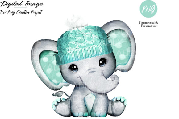 Print on Demand: Mint Boy Elephant with Winter Hat Graphic Illustrations By adlydigital - Image 1