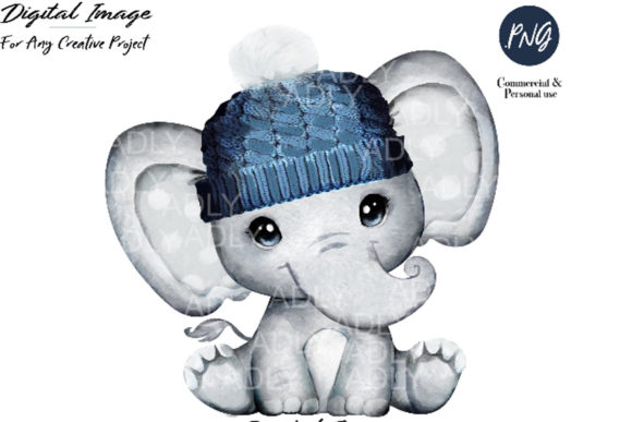 Print on Demand: Elephant Clip Art Dark Blue Winter Hat Graphic Illustrations By adlydigital