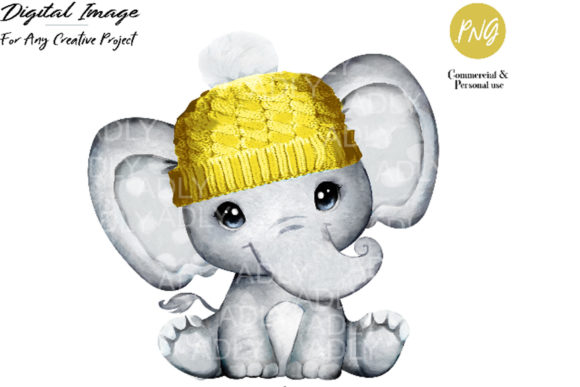 Baby Elephant with Yellow Hat Clip Art Graphic By adlydigital