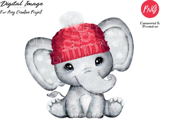 Baby Elephant Red Hat Clip Art Graphic By adlydigital