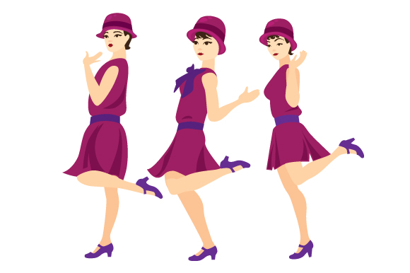 Download Free Three Flappers Dancing Together Svg Cut File By Creative Fabrica for Cricut Explore, Silhouette and other cutting machines.