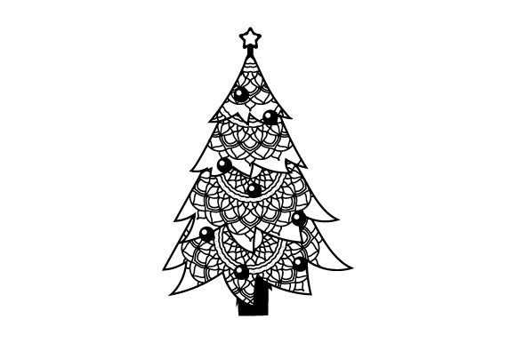 Christmas Tree (mandala Line Art Style) Craft Design By Creative Fabrica Crafts