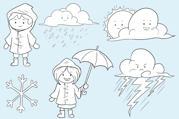 Print on Demand: Cute Weather Kids Digital Stamps Graphic Illustrations By Keepinitkawaiidesign - Image 2