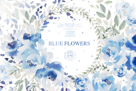 Watercolor Blue Flowers Graphic Objects By Knopazyzy