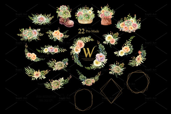 Print on Demand: Watercolor Succulents and Shoe Pot Graphic Illustrations By SapG Art - Image 4