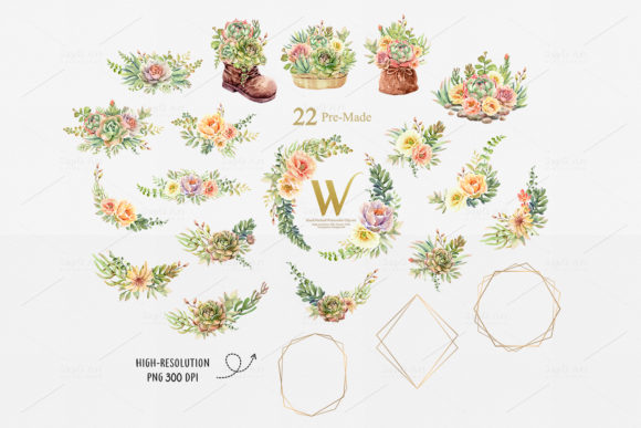 Print on Demand: Watercolor Succulents and Shoe Pot Graphic Illustrations By SapG Art - Image 3