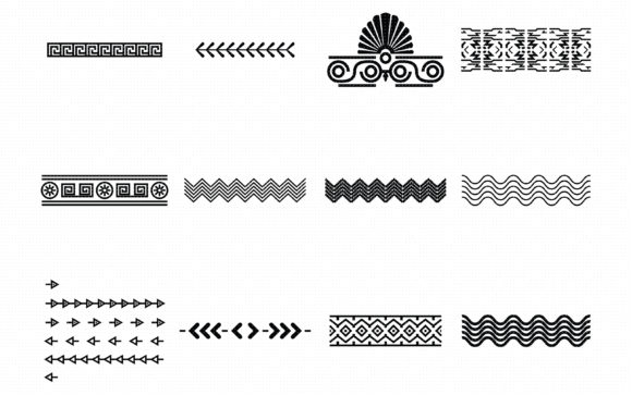 Print on Demand: Aztec Decorative Borders Graphic Crafts By CrafterOks