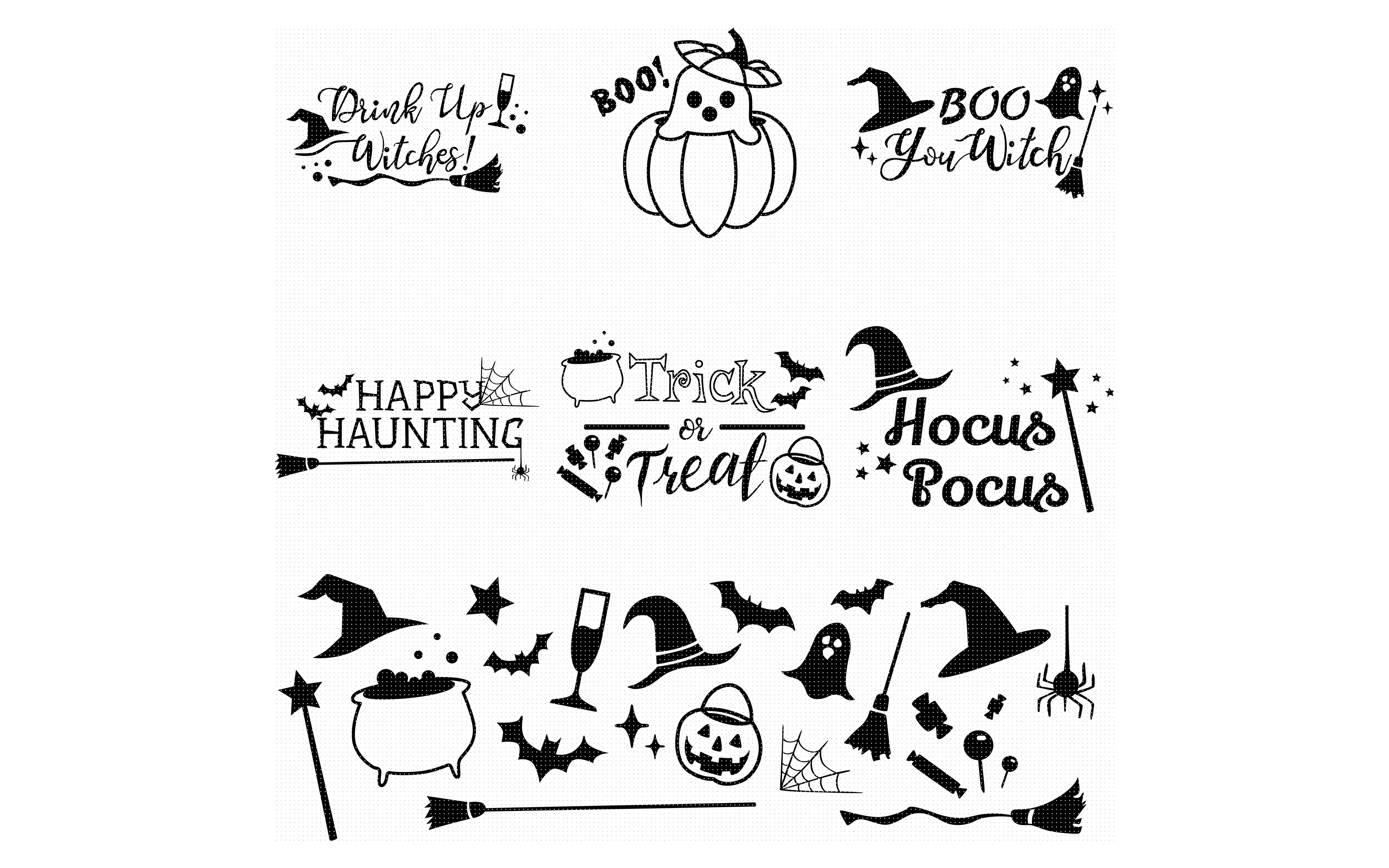 Download Free Halloween Quotes Bundle Graphic By Crafteroks Creative Fabrica for Cricut Explore, Silhouette and other cutting machines.
