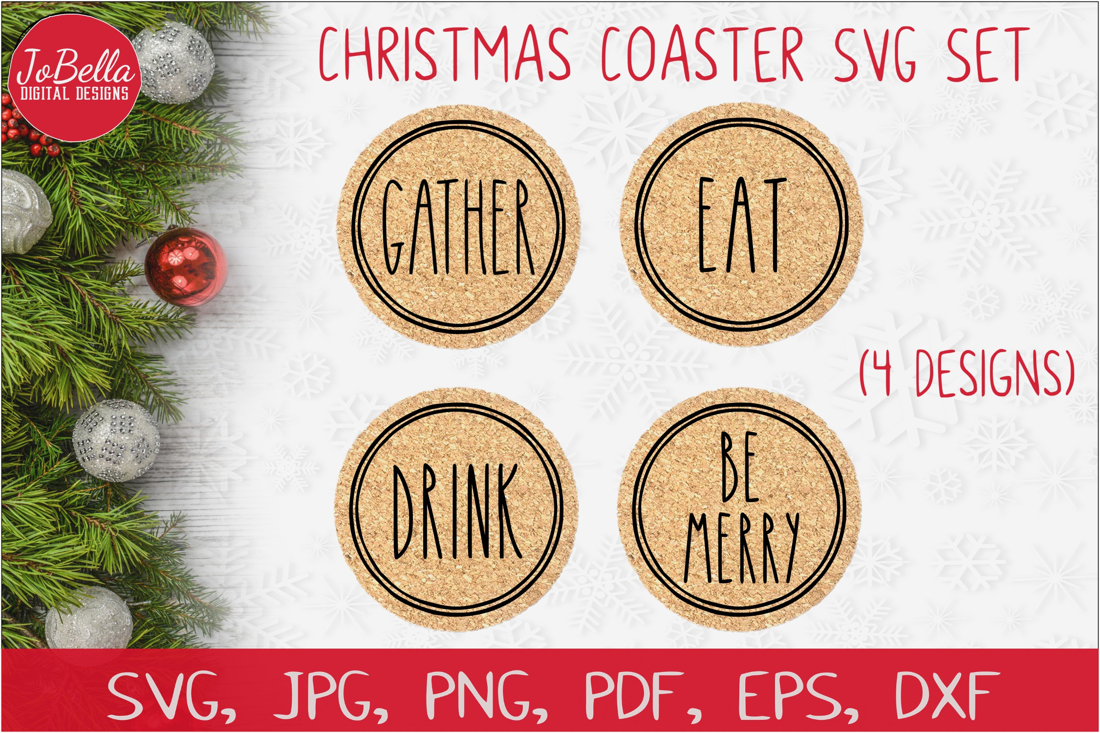 Download Free Christmas Coaster Graphic By Jobella Digital Designs Creative for Cricut Explore, Silhouette and other cutting machines.