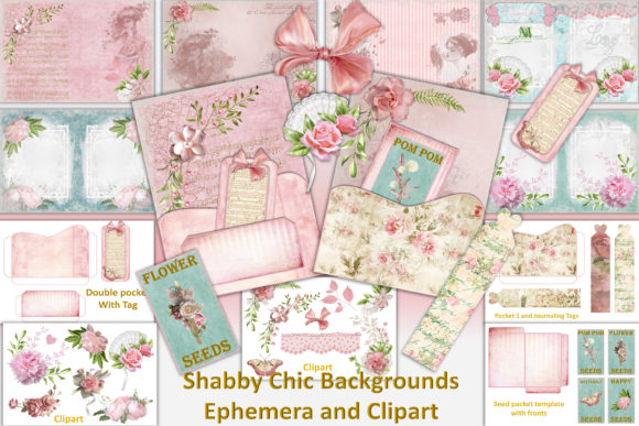 Print on Demand: Shabby Chic Vintage Backgrounds Clipart Graphic Crafts By The Paper Princess