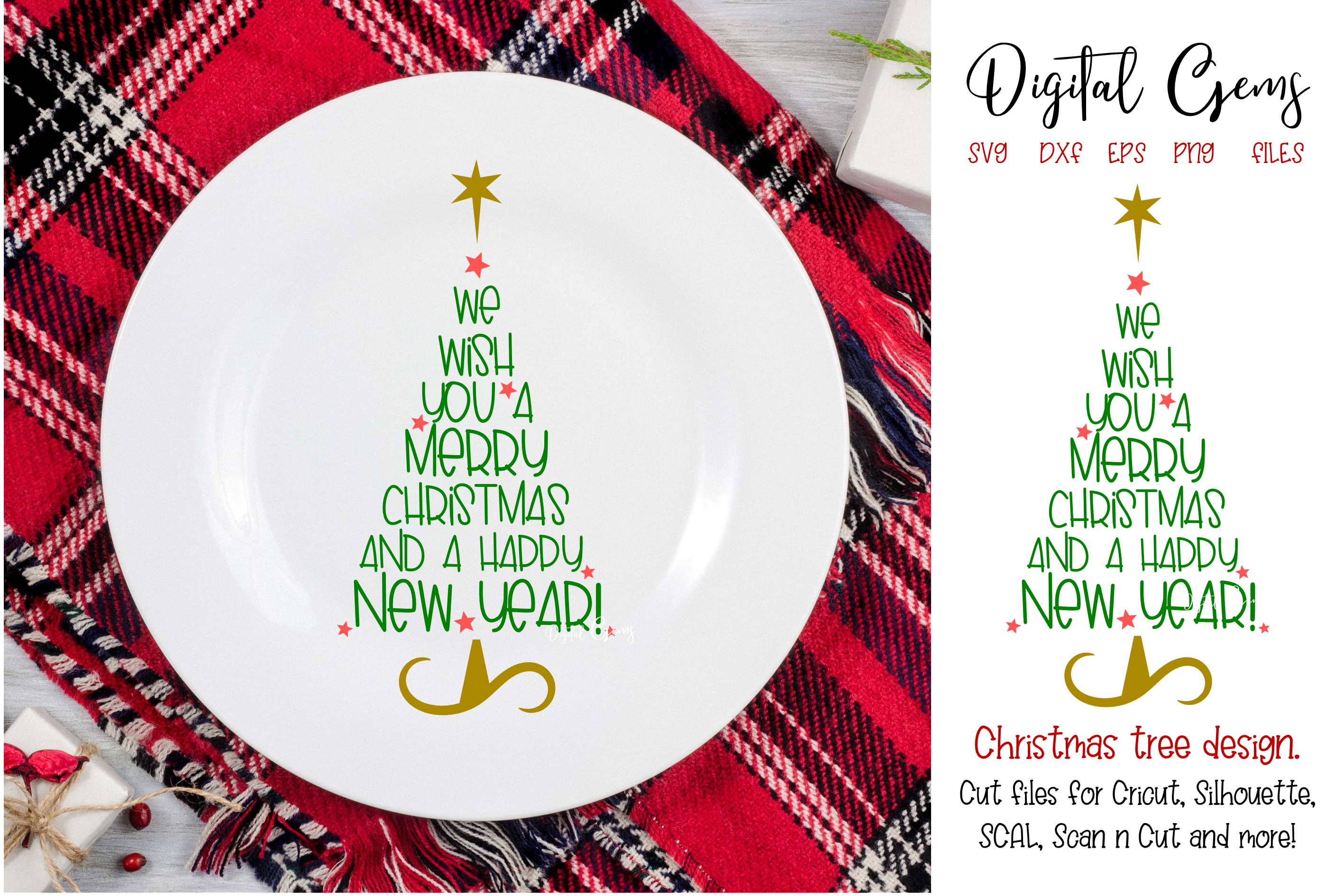Download Free We Wish You A Merry Christmas Tree Graphic By Digital Gems for Cricut Explore, Silhouette and other cutting machines.