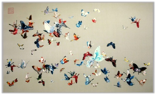 silk butterfly embroidery craft