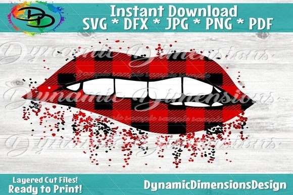 Download Free Sparkling Lips Buffalo Plaid Print Graphic By Dynamicdimensions for Cricut Explore, Silhouette and other cutting machines.