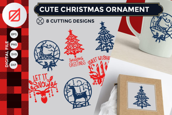 Print on Demand: Cute Christmas Ornament Cutting File Graphic Crafts By illusatrian - Image 1