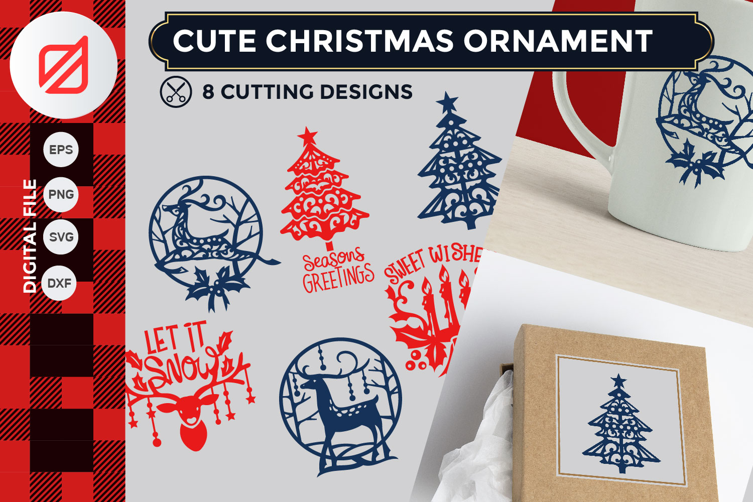 Download Free Cute Christmas Ornament Cutting File Graphic By Illusatrian for Cricut Explore, Silhouette and other cutting machines.