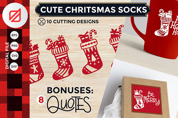 Download Free Cute Christmas Socks Cutting File Graphic By Illusatrian for Cricut Explore, Silhouette and other cutting machines.