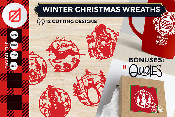 Download Free Winter Christmas Wreath Cutting File Svg Graphic By Illusatrian for Cricut Explore, Silhouette and other cutting machines.
