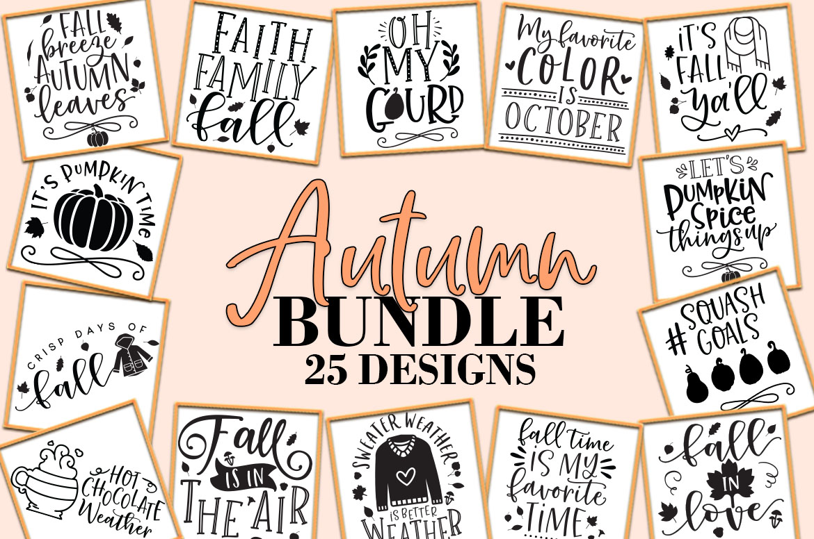 Download Free Fall Autumn Svg Bundle Graphic By Freelingdesignhouse Creative for Cricut Explore, Silhouette and other cutting machines.
