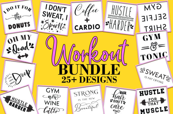 Download Free Fitness Bundle Workout Quotes Graphic By Freelingdesignhouse SVG Cut Files