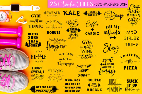 Fitness SVG Bundle Workout Quotes Gym Graphic Crafts By freelingdesignhouse - Image 2