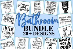 Download Free Funny Bathroom Quotes Bundle Graphic By Freelingdesignhouse for Cricut Explore, Silhouette and other cutting machines.