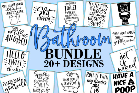 Print on Demand: Funny Bathroom Quotes Bundle Graphic Crafts By freelingdesignhouse