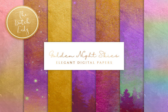 Print on Demand: Digital Backgrounds Golden Night Skies Graphic Backgrounds By daphnepopuliers - Image 1