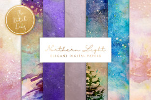 Print on Demand: Digital Backgrounds Northern Lights Graphic Backgrounds By daphnepopuliers