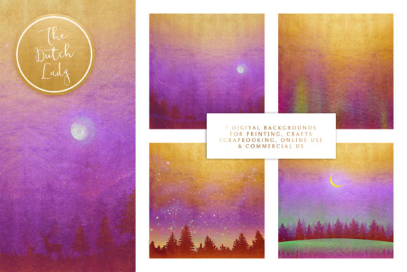 Print on Demand: Digital Backgrounds Golden Night Skies Graphic Backgrounds By daphnepopuliers - Image 2