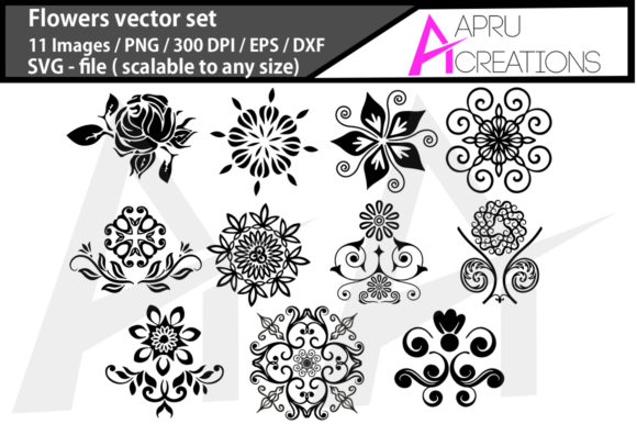 Print on Demand: Flowers Black Graphic Icons By aparnastjp - Image 1