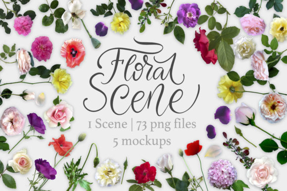 Print on Demand: Floral Scene Creator + 5 Mock Ups. Graphic Product Mockups By billcreativestore