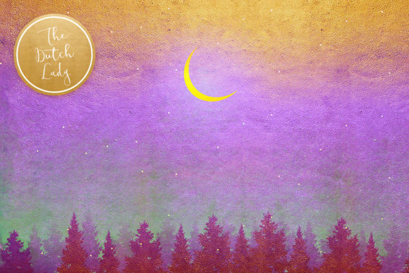 Print on Demand: Digital Backgrounds Golden Night Skies Graphic Backgrounds By daphnepopuliers - Image 4