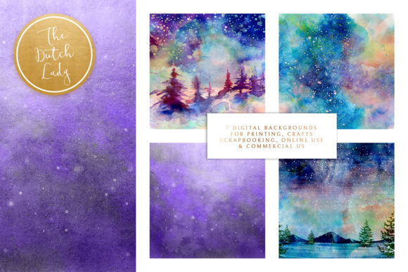 Print on Demand: Digital Backgrounds Northern Lights Graphic Backgrounds By daphnepopuliers - Image 2