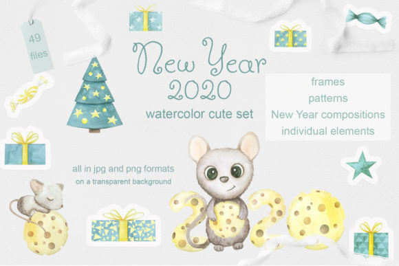 Mouse. New Year 2020. Watercolor Set Graphic By Natalia Arkusha