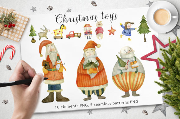Download Free Watercolor Christmas Toys Graphic By By Anna Sokol Creative for Cricut Explore, Silhouette and other cutting machines.