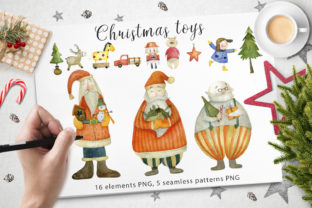 Download Free Watercolor Christmas Toys Graphic By By Anna Sokol Creative Fabrica for Cricut Explore, Silhouette and other cutting machines.
