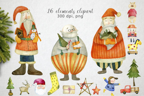 Print on Demand: Watercolor Christmas Toys Graphic Illustrations By By Anna Sokol - Image 2