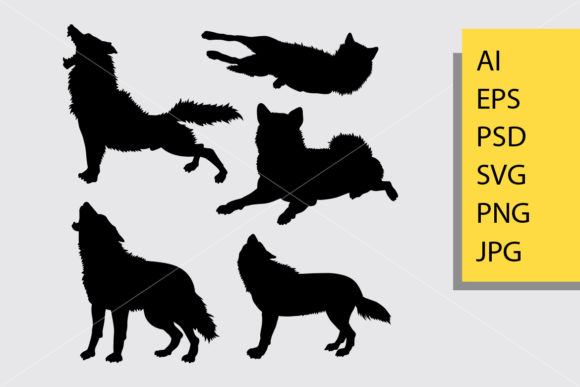 Wolf Animal Silhouette Graphic Illustrations By Cove703