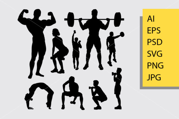 Body Builder and Fitness 3 Silhouette Graphic Illustrations By Cove703