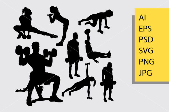 Body Builder and Fitness 2 Silhouette Graphic Illustrations By Cove703